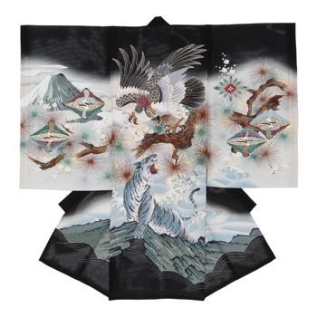【男の子・お宮参り・絽(夏用)レンタル6点フルセット】正絹 鷹 虎 ブラック