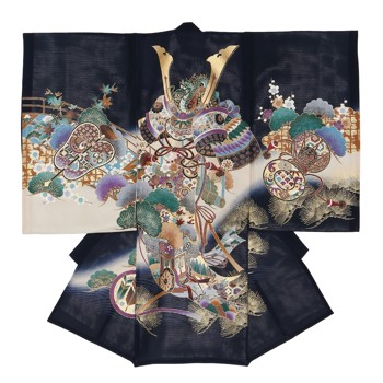 【男の子・お宮参り・絽(夏用)レンタル6点フルセット】正絹 兜 御所車 ネイビー