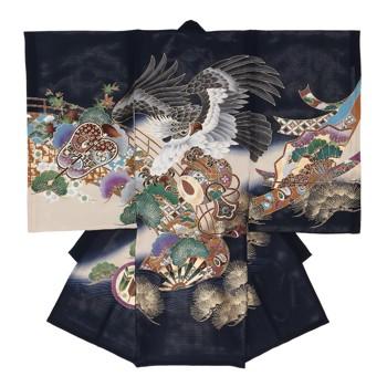 【男の子・お宮参り・絽(夏用)レンタル6点フルセット】正絹 鷹 小槌 ネイビー