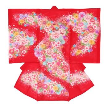 【女の子・お宮参り・絽(夏用)レンタル6点フルセット】正絹 鞠 レッド