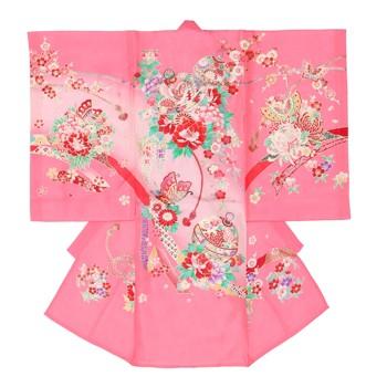 【女の子・お宮参り・絽(夏用)レンタル6点フルセット】正絹 鞠 蝶々 ピンク