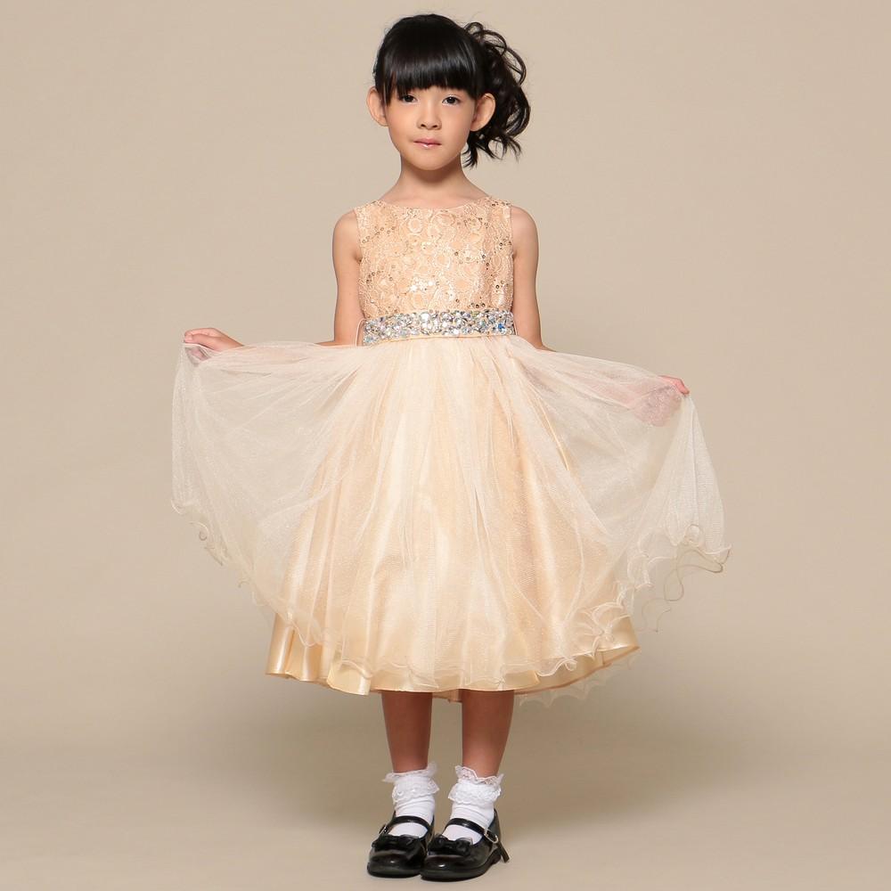 レディースファッションレンタル、ドレス、キッズ、ゴールド 【キッズ】 大粒ウエストビジュー チュールスカート ドレス ゴールド