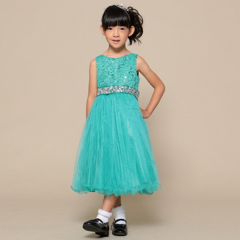 レディースファッションレンタル、ドレス、キッズ、グリーン 【キッズ】 大粒ウエストビジュー チュールスカート ドレス ジェード