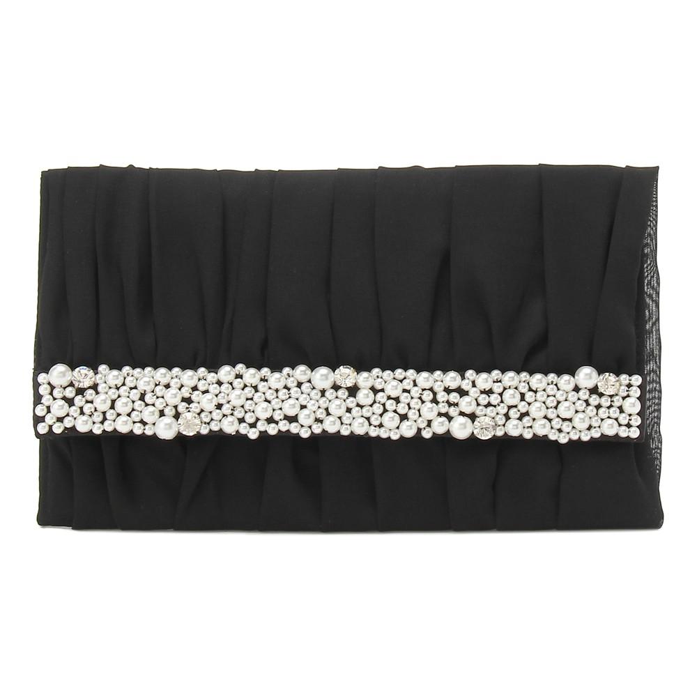 レディースファッションレンタル、ふくさ、小物、ブラック パール&ビジュー付きふくさ ブラック