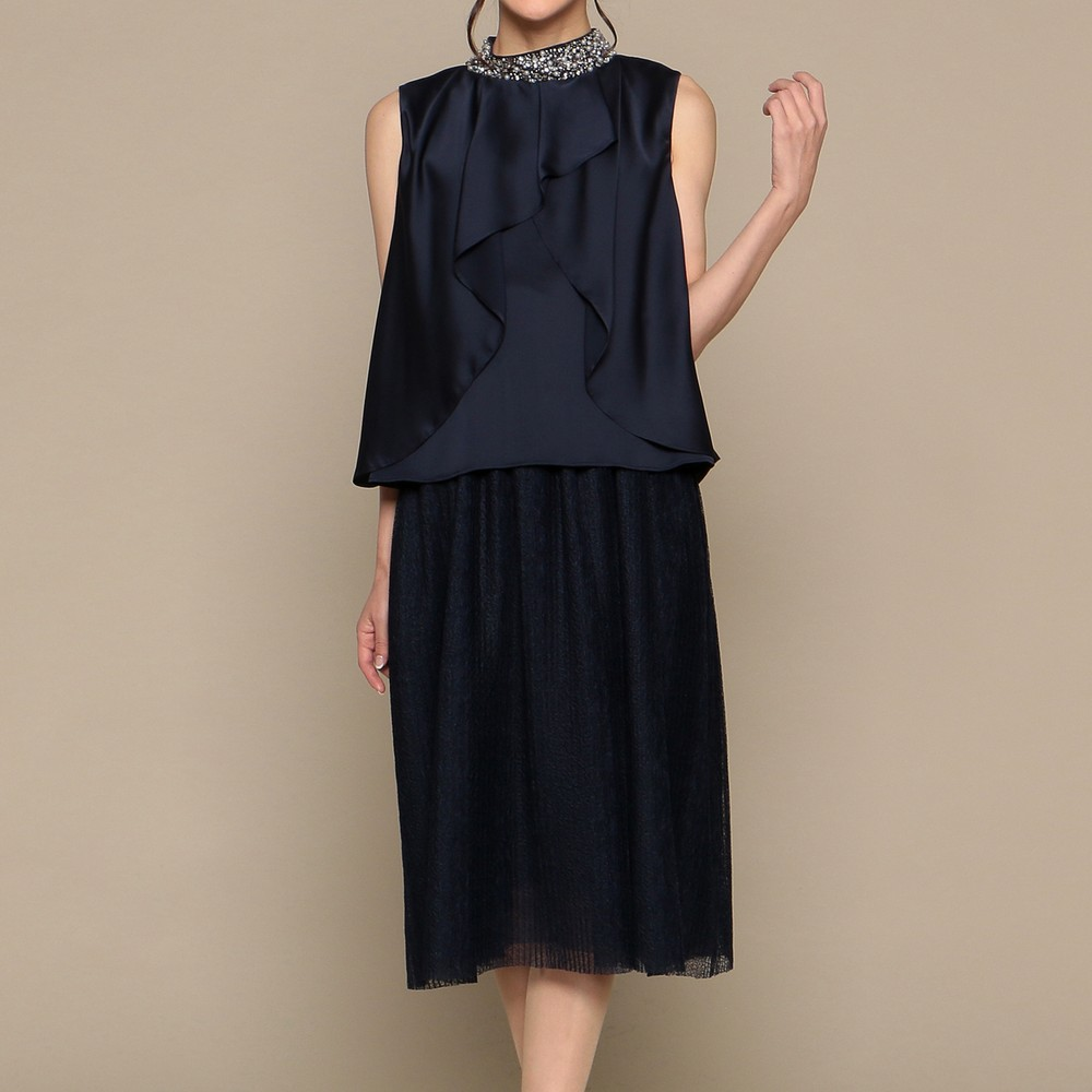 [iteminfo_actress_name] レディースファッションレンタル、ミディアムドレス、ドレス、ネイビー アウトリーチェソワニエ ミディアムドレス ネイビー