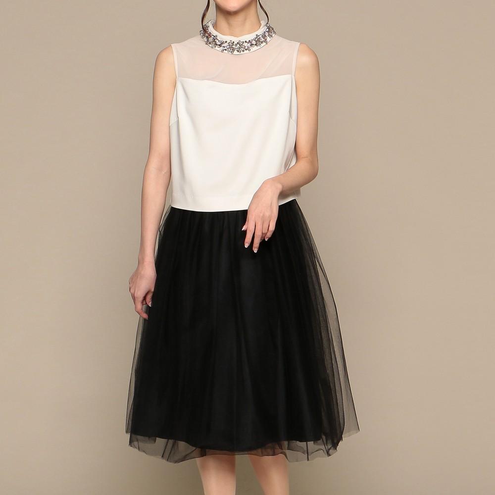 [iteminfo_actress_name] レディースファッションレンタル、ミディアムドレス、ドレス、ブラック アウトリーチェソワニエ ミディアムドレス ミックス