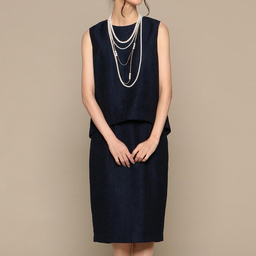 レディースファッションレンタル、ミディアムドレス、ドレス、ネイビー アウトリーチェソワニエ ミディアムドレス ネイビー