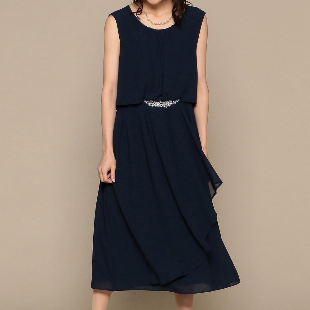 [iteminfo_actress_name] レディースファッションレンタル、ミディアムドレス、ドレス、ネイビー スウィートアズ ウエストビジュー ミディアムドレス ネイビー