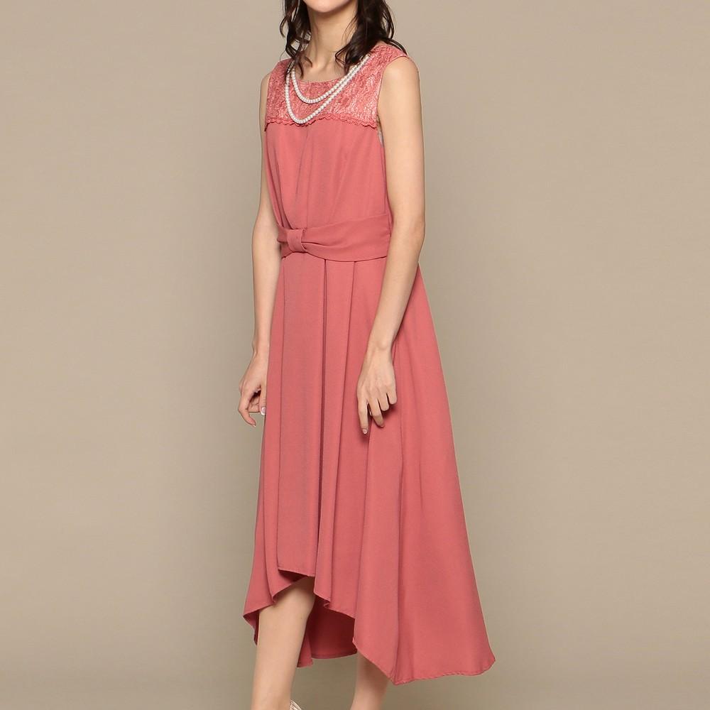 レディースファッションレンタル、ミディアムドレス、ドレス、ピンク スウィートアズ 胸元レース イレギュラーヘム ミディアムドレス ピンク