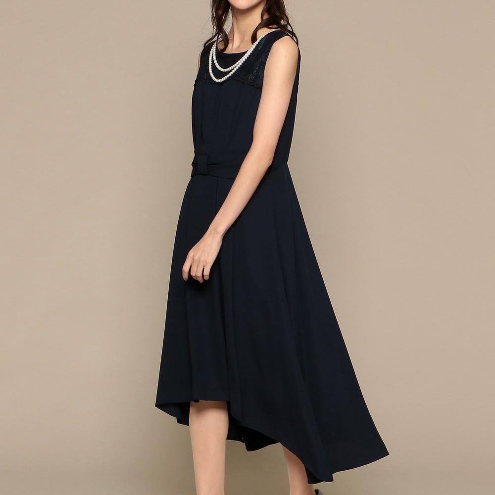 レディースファッションレンタル、ミディアムドレス、ドレス、ネイビー スウィートアズ 胸元レース イレギュラーヘム ミディアムドレス ネイビー