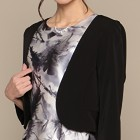 ノーカラー 裾フリル ジャケット ブラック