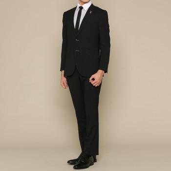ランバン オン ブルー ピンストライプ スーツ セット ブラック