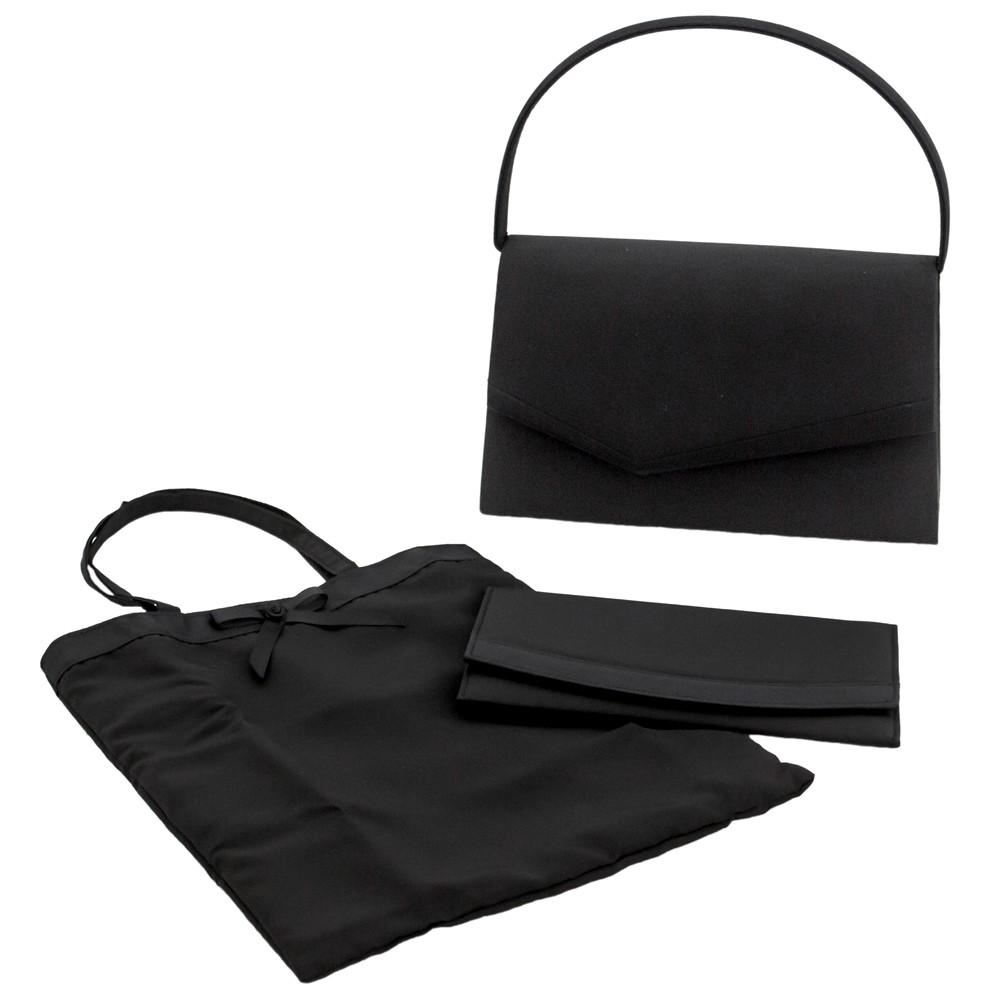レディースファッションレンタル、ハンドバッグ、バッグ、ブラック 【3点セット】エメ アシンメトリーデザイン ブラックフォーマル(ハンドバッグ、サブバッグ、袱紗)