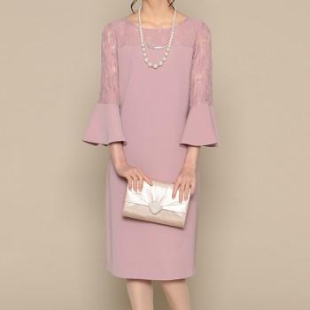 【3点セット】スウィートアズ 花柄レース 袖コンシャス ミディアムドレス ピンク