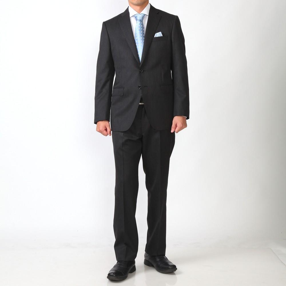 モドラス ストライプ シングル スーツ ミディアムグレー