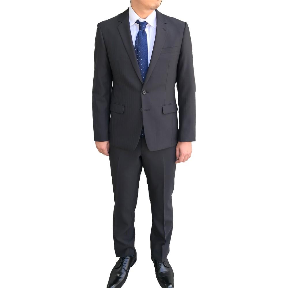 リナシッタ ストライプ シングル スリム スーツ チャコールグレー