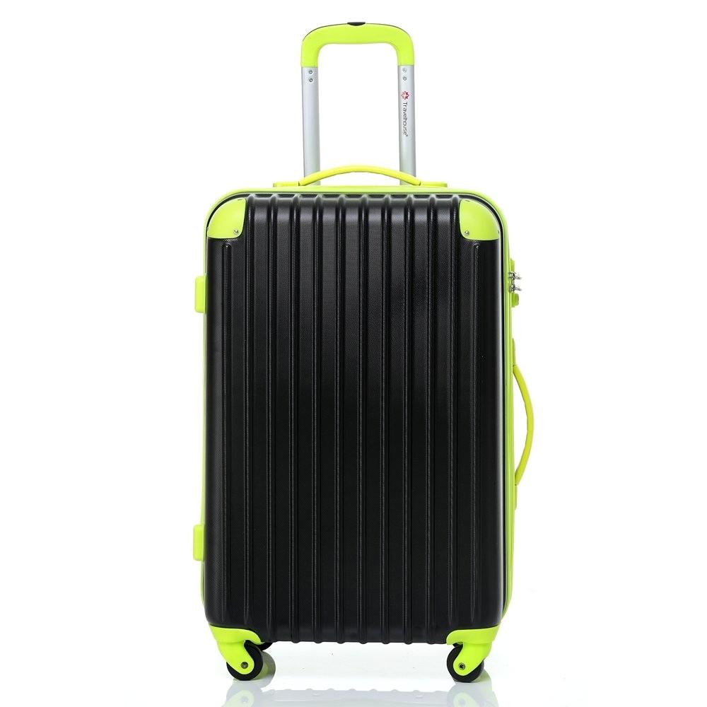 いろいろ、スーツケース(4〜7泊)、旅行、ブラック 【4〜7泊】Travel house 軽量 TSAロック付き 4輪 57L スーツケース ブラック&グリーン