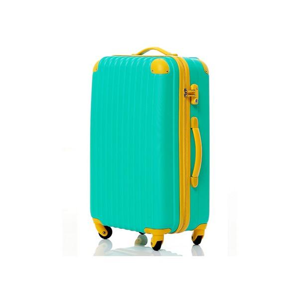 いろいろ、スーツケース(4〜7泊)、旅行、グリーン 【4〜7泊】Travel house 軽量 TSAロック付き 4輪 57L スーツケース グリーン&イエロー