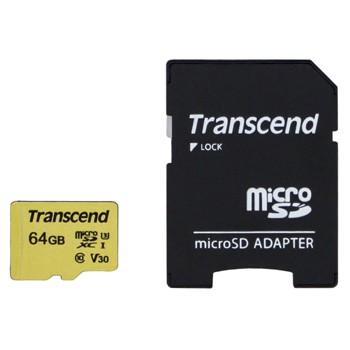 [TS64GUSD500S]microSDXCカード Transcend 64GB Class10